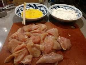 Chicken Katsu prepping station