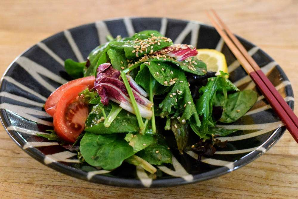 Salad with Sesame Miso Dressing