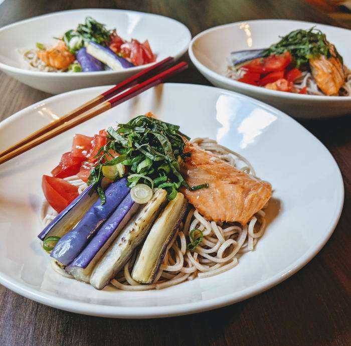 Grilled Salmon with Soba Noodles, Eggplant and Tomatoes