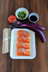 Ingredients for Grilled Salmon with Buckwheat Noodles