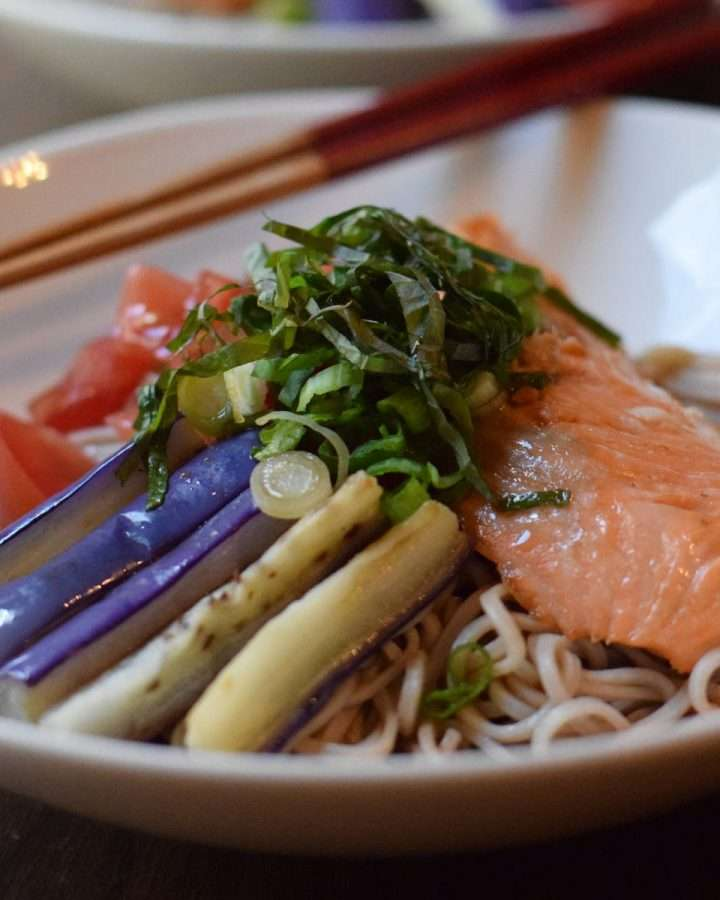 Chilled Buckwheat Noodles with Grilled Alaskan Salmon