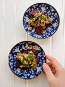 Roasted Beet Salad with Miso and Walnuts