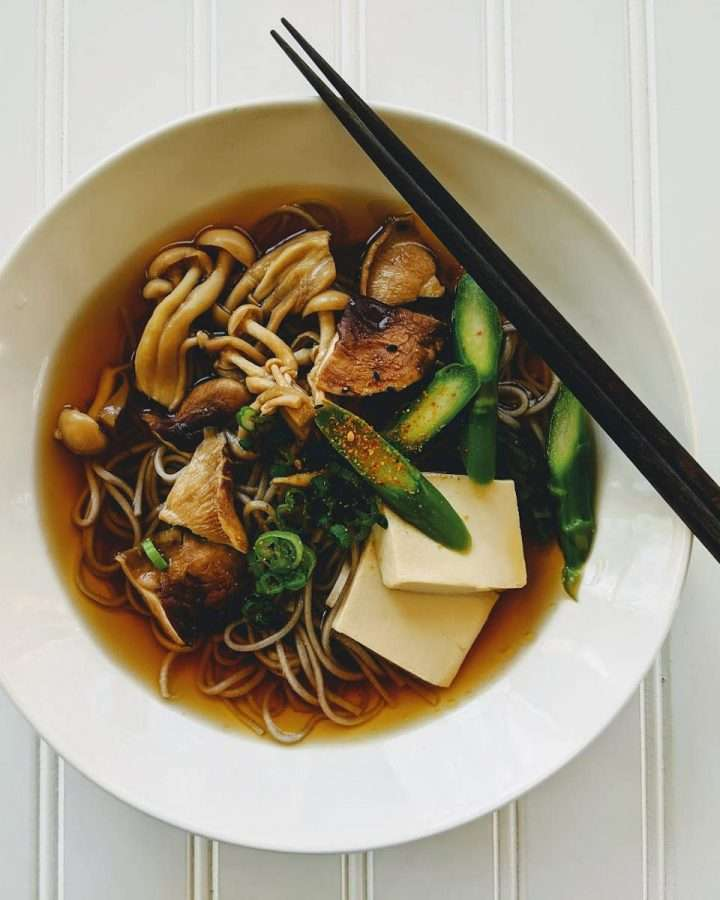 Wild Mushrooms, Asparagus and Tofu Soba