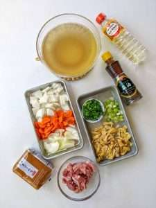 Ingredients Country Style Miso Soup with Pork and Root Vegetables